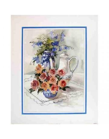 Table fleurie et fruits
