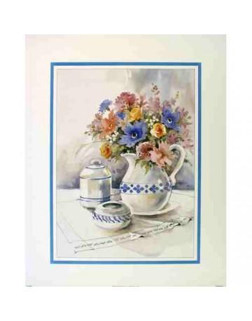 Table fleurie et petits pots