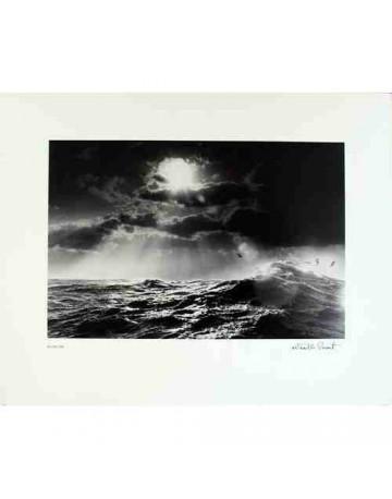 Photographie noir et blanche La mer et les nuages